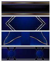 conjunto de banners de luxo azul e ouro vetor