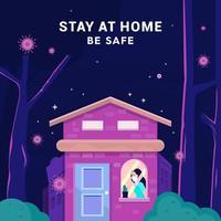 '' fique em casa e fique seguro '' contra o vírus corona vetor