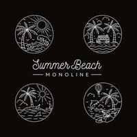 cenas de linha mono de praia verão vetor