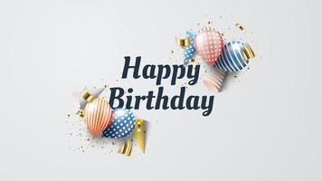 feliz aniversário balões e confetes