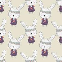 coelho cute crianças com padrão sem emenda de corações vetor