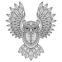 página para colorir de coruja vetor
