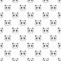 padrão de cabeça de crianças panda sem emenda vetor