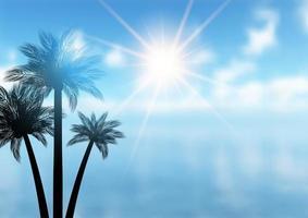 fundo de palmeira de verão vetor