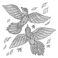 Desenho de 2 pássaros para colorir vetor