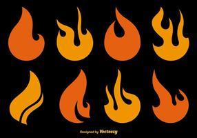 Ícones de vetor de fogo plano