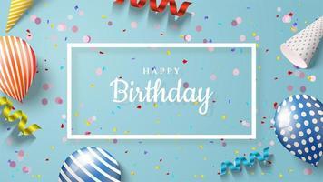 fundo de feliz aniversário retângulo