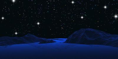 wireframe paisagem contra um céu noturno estrelado vetor