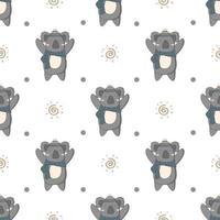 padrão sem emenda de mão desenhada inverno bonito coala vetor