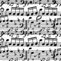 fundo de notas de música plana vetor
