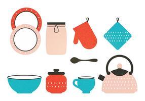 Elementos da cozinha do vetor