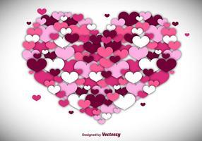 Fundo do coração do vetor feito com corações