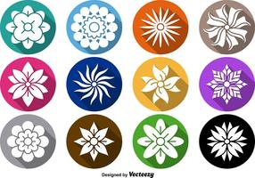 Conjunto de vetores de ícones de flores