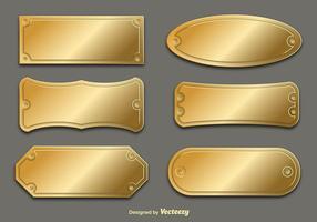 Placas de nome dourado de vetor