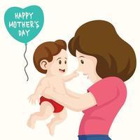 feliz dia das mães design com mãe segurando bebê vetor