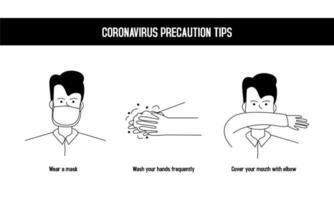 dicas de precaução de coronavírus vetor