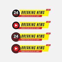 coleção de banners de notícias de última hora vetor