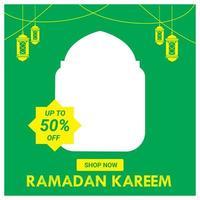 post de mídia social verde e amarelo de venda do ramadã