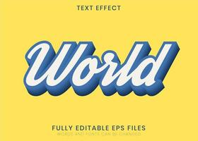 efeito de texto de caligrafia mundial vetor