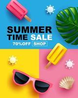 cartaz de venda de verão com óculos de sol