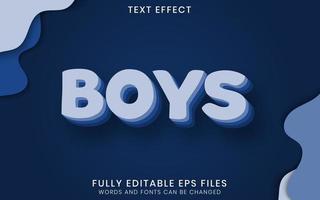 efeito de texto editável em camadas azul de meninos vetor