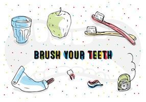 Ícones grátis para escovar os dentes do vetor
