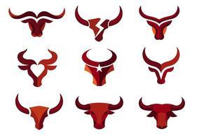 coleção de cabeça de touro forte e poderosa