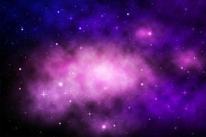 galáxia espaço roxo com brilhantes estrelas e nebulosa vetor