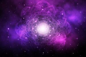 mandala de flor com fundo roxo galáxia vetor