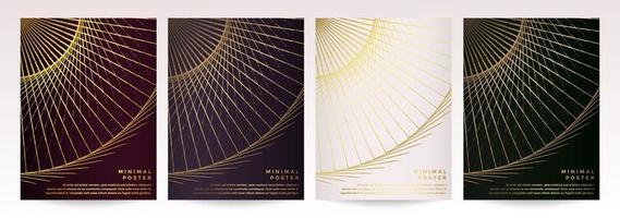 conjunto de cartaz de padrão de círculo abstrato geométrico dourado