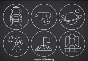 Vetores de ícones de contorno fino do espaço
