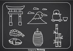 Ícones de Doddle da Cultura Japonesa vetor