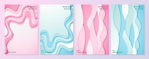 modelos de cartaz rosa e azul com estilo de corte de papel ondulado
