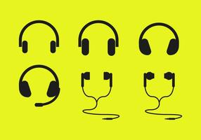 Vetor de ícones de fones de ouvido