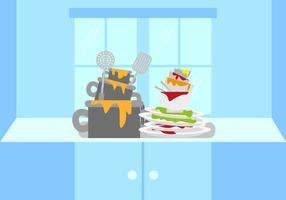 Vetor de ilustração de pratos sujos
