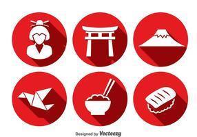 Vector de ícones de cultura japonesa