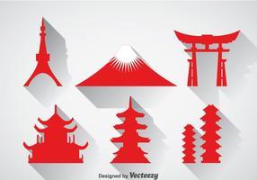 Ícone de ícones do marco japonês vetor