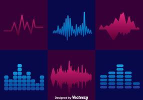 Conjuntos de ícones de barras de som mínimas vetor