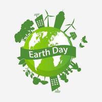 globo do dia da terra com cidade e família ecológicas vetor