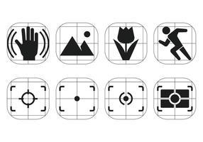 Ícones do menu vetorial do visor da câmera