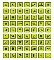 conjunto de 63 sinais de aviso com ícones pretos no verde vetor