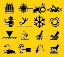conjunto de ícones de sinal de aviso vetor