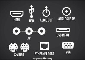 Ícone de ícones da porta de conexão vetor
