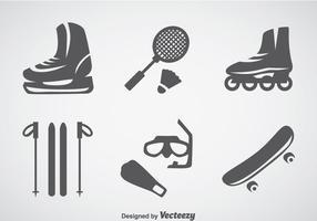 Ícones cinza esportivo vetor