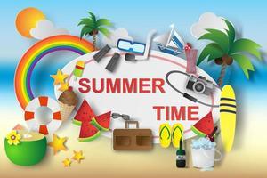 elementos de design de horário de verão de arte de papel vetor