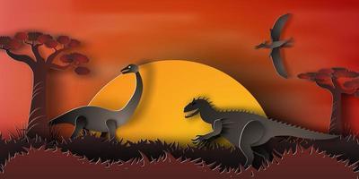 paisagem noturna de dinossauro
