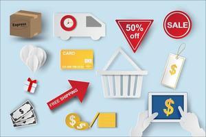 conjunto de ícones de comércio eletrônico de arte de papel vetor