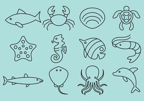 Vetores do ícone da linha dos animais do mar