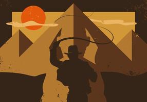 Indiana Jones Raiders Of The Lost Ark Ilustração Minimalista Vector
