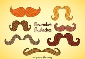Movember Coleção de bigodes Coleção vetor
